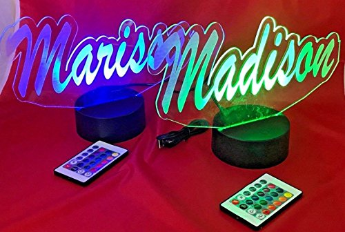 Name Light Up Lamp Any Name Shape Lamp LED Personalized Create Your Own Name in Script Table Lamp LED, Our Newest Feature - It's Wow, with Remote 16 Color Options, Dimmer, Free Engraving, Great Gift