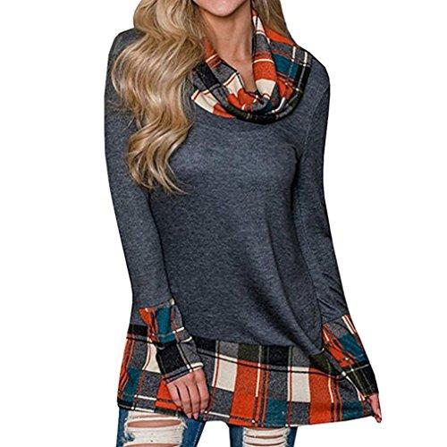 TAORE Long sleeve Womens Turtleneck Tunic Plaid Shirts Long Sleeve Pullover Sweatshirt (US6=TagM, Q-Orange) Wear Caftan