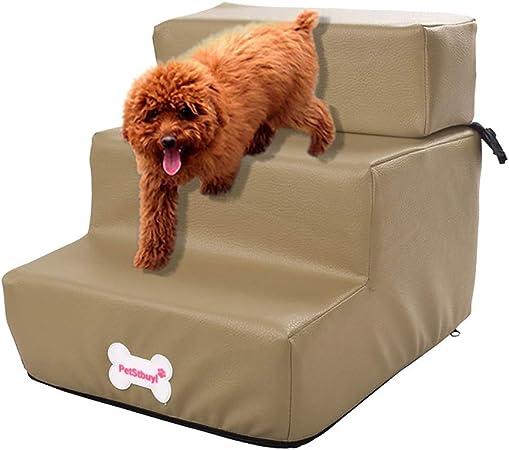 BaZhaHei Escaleras para Perros Escaleras Plegables de Cuero Impermeables para Mascotas Cama Desmontable Gato Rampa 3 Pasos para Gatos y Perros: Amazon.es: Hogar