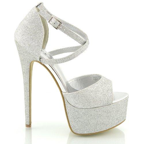 Womens Peep Toe Strappy Platform Stiletto Ladies High Heel Ankle Strap Sandals Shoes Size 3 4 5 6 7 8 Silver Glitter 6BhnGgU