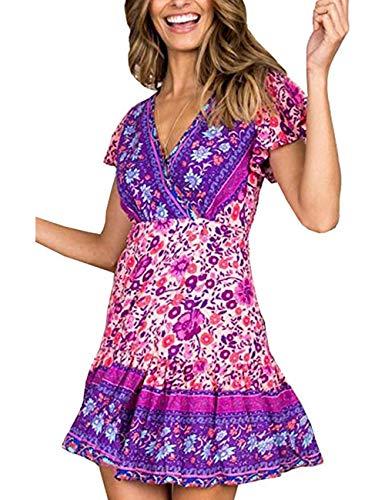 LOMON Women's Flower Cotton Dress V Neck Ruffle A line Swing Beach Short Dress(PurpleFlower,M)