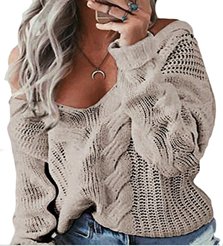 Long Loose Fashion M Sweater Sleeve amp;S Women's Collar V amp;W Solid Khaki Color UU1qxn8f