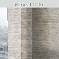 Marble Pattern Extendable 4-Rail Track GoDear Design Deluxe Adjustable Sliding Panel Track Blind 45.8-86 W x 96 H Trimmable Pleated Natural Woven Fabric Fuzzy Maze