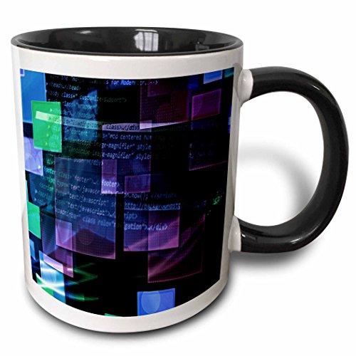 3dRose mug_213603_4 Purple, Blue, Green Floating Technical Squares With Internet Coding - Two Tone Black Mug, 11oz