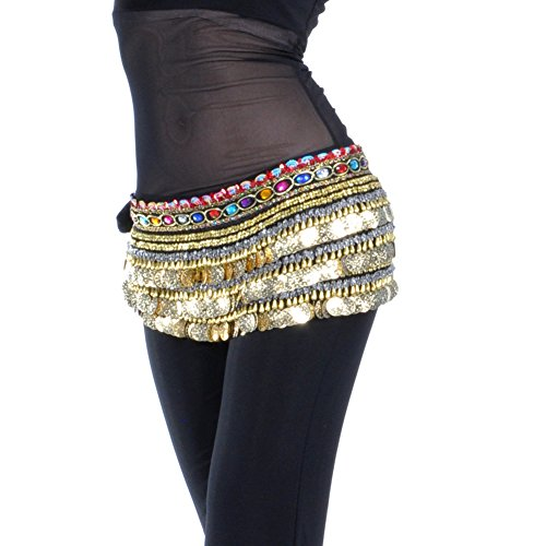 Dance Fairy Belly Dance Scarf 338 Gold Coins Skirt,Black (Curvy Halloween Costumes)
