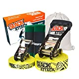 Driftsun Sports Slackline Complete Kit - 50FT Classic Slacklining Line Training Line Tree Guards