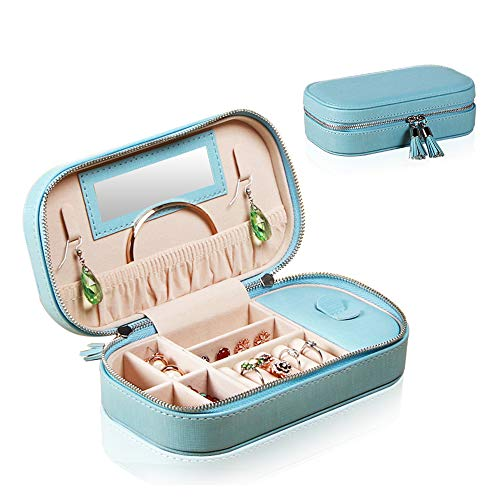 (YAPISHI Travel Jewelry Box Organizer for Girls Women, Portable Faux Leather Jewellery Storage Display Case for Rings Earrings Necklace Watch Bracelet (Blue-Large))