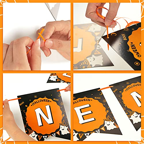 Koogel Halloween party decoration set, Scary Halloween set for kids party birthday Halloween garland balloon spider web photo props included