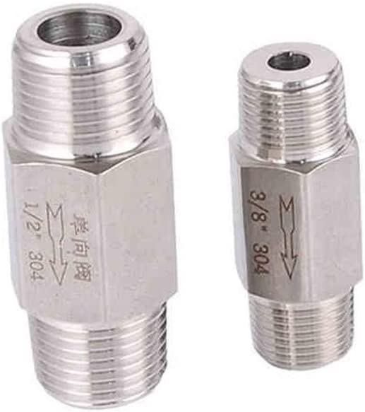 YINGJUN Valves 1//8 1//4 3//8 1//2 3//4 inch BSP Male Thread 304 Stainless Steel Check Valve One Way Non-Return Valve for Water Oil Gas Specification : 1//8
