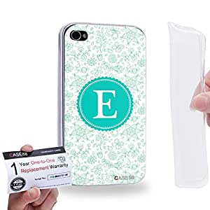 Case88 [Apple iPhone 4 / 4s] Gel TPU Phone case & Warranty Card - Art Typography Fashion Alphabet E Style 1248
