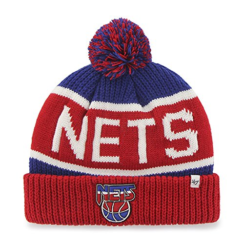 Acrylic Nets Jersey New ('47 New Jersey Nets Red Cuff Calgary Beanie Hat with Pom - NBA Cuffed Winter Knit Toque Cap)