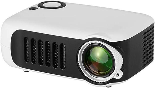 Opinión sobre Zhoutao A2000 Mini proyector Portable de 800 lúmenes Soporta 1080p LCD 50000 Horas Vida de la lámpara del proyector de Cine en casa Video para Power Bank (Color : Blanco)