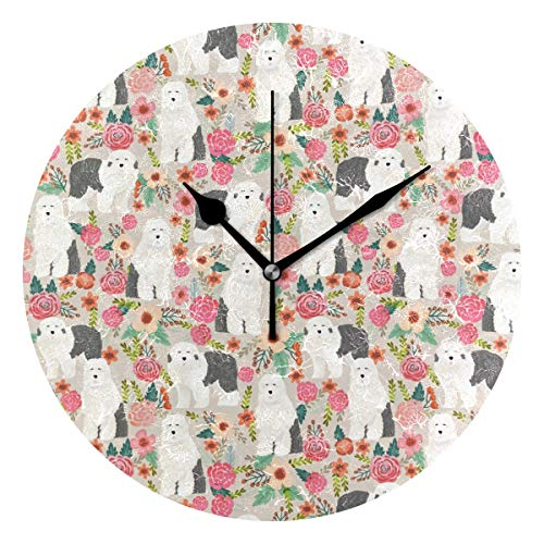 HCMusic Round Old English Sheepdog Wall Clock- Non Ticking Digital Quiet Sweep Clock, Decorative for Office Living Room Bedroom, 10 Inch