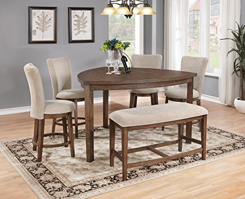 - Best Quality Furniture D872 6PC Dining Set, Peacan