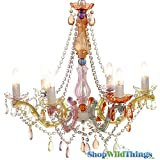 ShopWildThings Chandelier Gypsy with Plug Soft Muted Colors Beaded Lighting with Acrylic Crystals, Large, Pastel