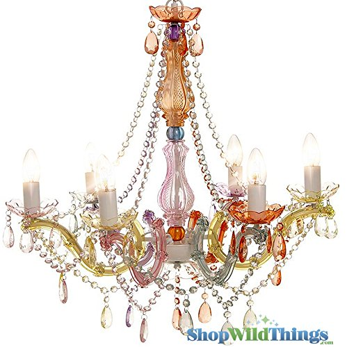 - ShopWildThings Chandelier Gypsy with Plug Soft Muted Colors Beaded Lighting with Acrylic Crystals, Large, Pastel