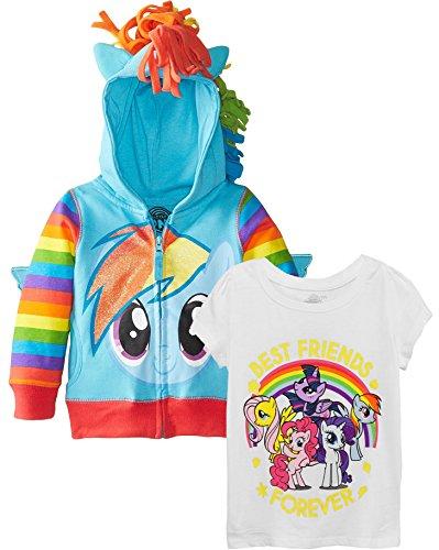 My Little Pony Little Girls' Rainbow Dash Hoodie, Rainbow BFF Set, (My Little Pony Outfit)