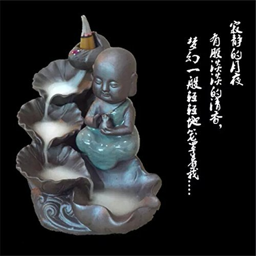 DTS-ES Violet Arenaceous Ceramic Backflow Incense Tower Burner, Lotus Leaf Boy Statue, With 85pcs Sandalwood Incenses, Used For Scene Atmosphere When You Play Piano, Drink Tea, Chat,Yoga, Calligraphy