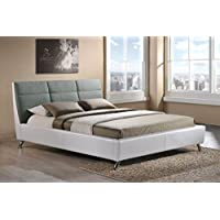 Wholesale Interiors Baxton Studio Bruno Modern and Contemporary Two-Tone Platform Base Bed Frame, Queen, White/Grey