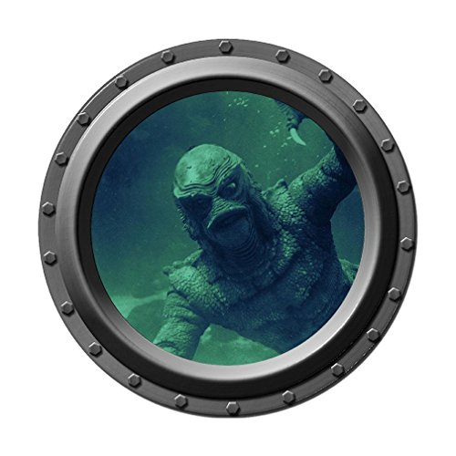 (Creature from the Black Lagoon Watches You - Porthole Wall Decal)
