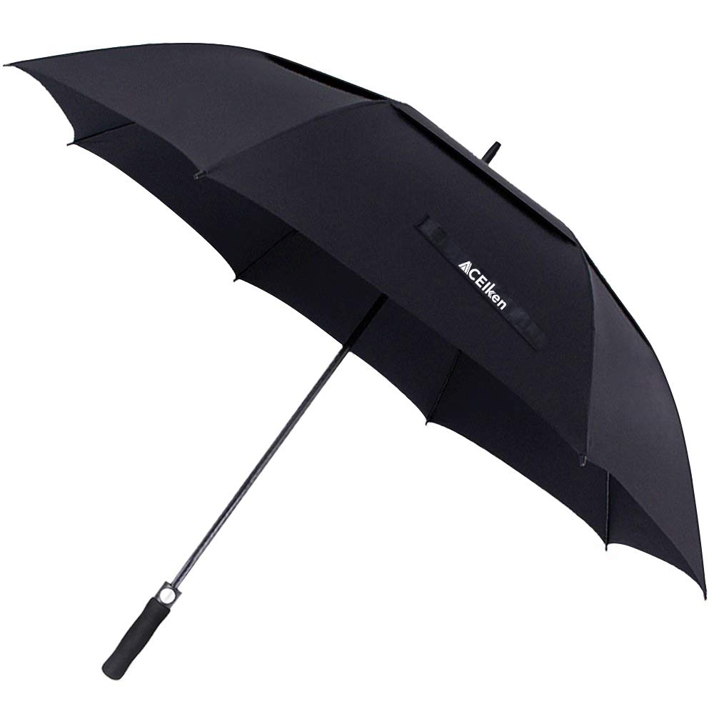 ACEIken Golf Umbrella Windproof Large 62 Inch, Double Canopy Vented, Automatic Open, Extra Large Oversized,Sun Protection Ultra Rain & Wind Resistant Stick Umbrellas, Black