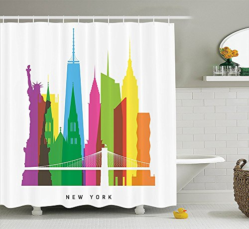 [American Decor Collection Landmarks of New York City Liberty Statue Empire State St Patrick Cathedral US Architecture Polyester Fabric Bathroom Shower Curtain Set with Hooks] (Nerd Costumes At Party City)