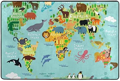 Vantaso Soft Foam Area Rugs World Map Animals Non Slip for Kids Boys Girls Playing Room Living Room 36x24 inch