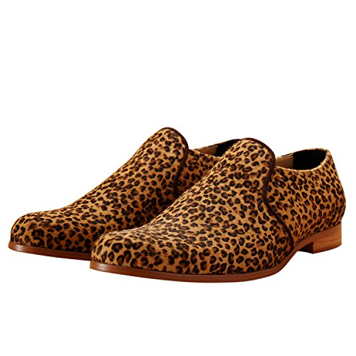 Itailor Luipaardprint Lederen Slip-on Schoenen Bruin