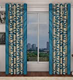 Home Candy Leaves Floral 4 Piece Polyester Door Curtain Set - 7ft, Blue
