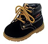 Toddler Boys Girls Martin Boots Solid Rubber Sole Short Chukka Ankle Snow Boots Black 7.5 M