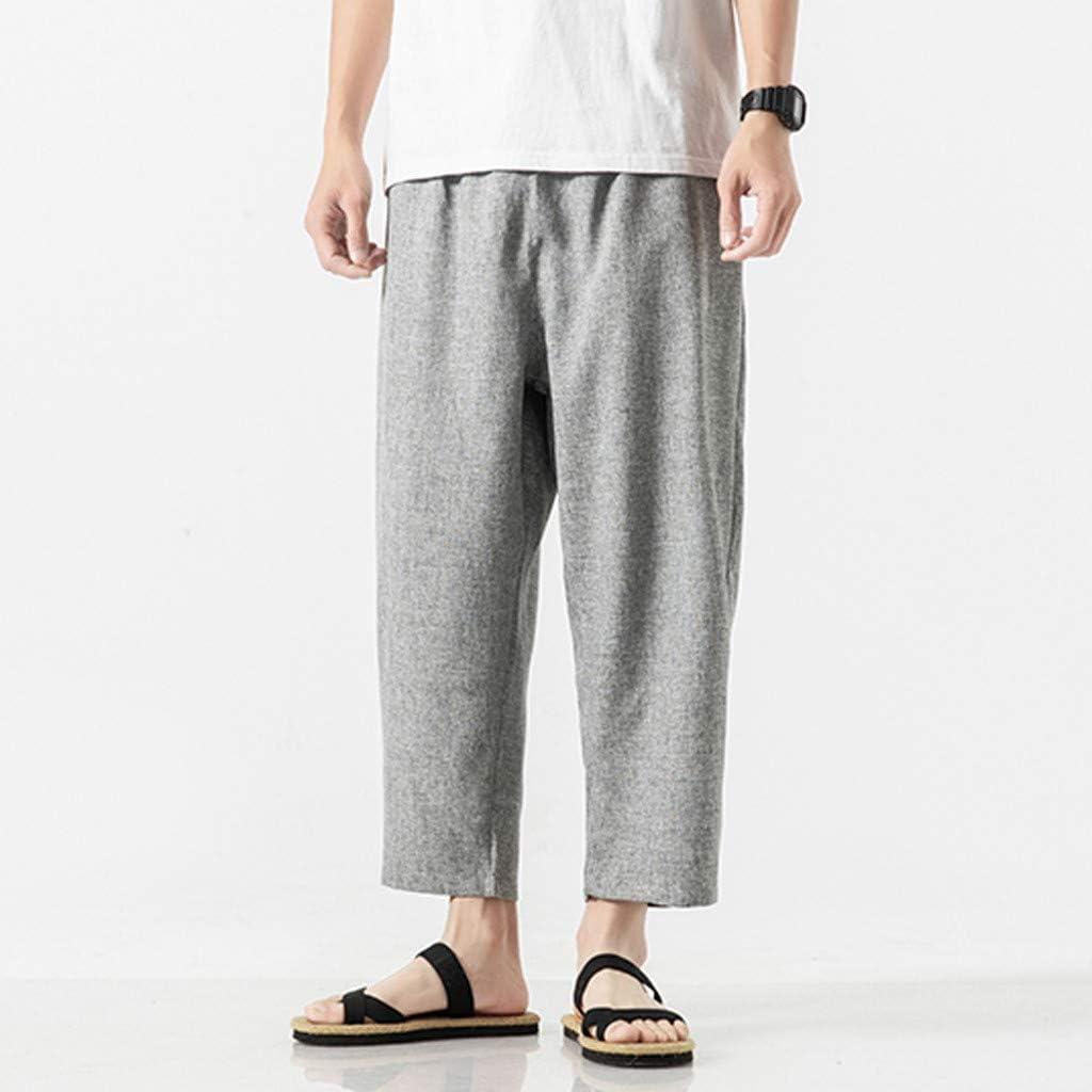 YUTING Pantalones HombrePantalones de Lino Sueltos Pantalón ...
