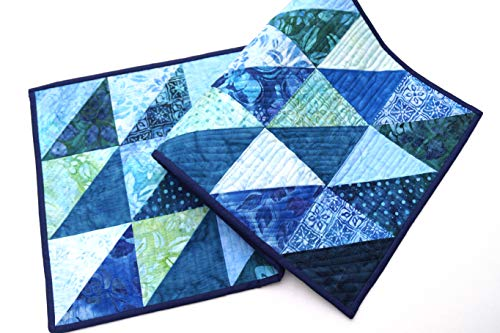 Batik Quilted Fabric Patchwork Table Runner in Shades of Blue (Hand Batik Cotton Table Runner)