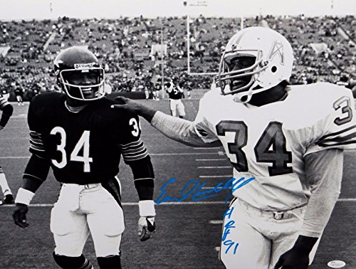 (Earl Campbell HOF Autographed Oilers 16x20 With Walter Payton Photo- JSA W Auth)