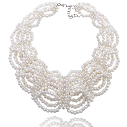 Kalse Simulated Pearl White Beads Cluster Statement Chunky Bib Short Choker Necklace 16 17 18 inch (Collar Style)