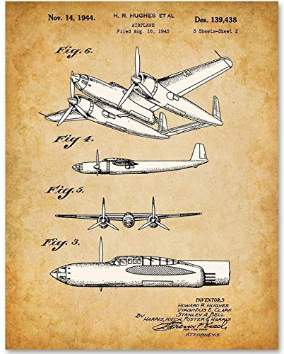 Howard Hughes Airplane - 11x14 Unframed Aviation Art Patent Print - Makes a Great Gift Under $15 for Pilots