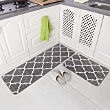 "2 Pieces Microfiber Moroccan Trellis Non-Slip Soft Kitchen Mat Bath Rug Doormat Runner Carpet Set, 17""x48""+17""x24"", Grey"