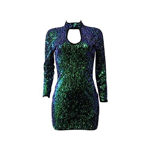 Coolred-femmes Silm Adaptent À Manches Longues Paillettes V-cou Sexy Boîte De Nuit Élégante Robes Mi Creux De Fermeture À Glissière Vert