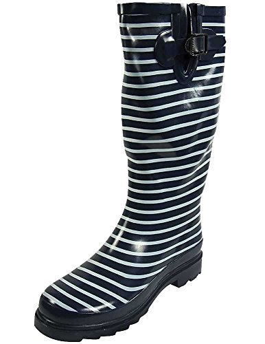 Sunville Women's Ditsy Dots Rubber Rainboot and Gardenboot,7 B(M) US,Navy with Stripes