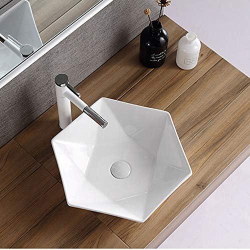 セラミック洗面器 浴室セラミック洗面洗面アート洗面シンク洗面化粧台のキャビネット バスルームキャビネットシンク (色 : 白, Size : 48x48x12cm)