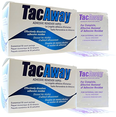 Tacaway Adhesive Remover Wipes - 50 per Box - 2 Pack by Skin-Tac