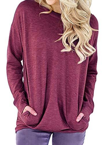 TWKIOUE Winter Sweater, Women Casual Long Sleeve Round Neck Sweatshirt Loose T Shirt Blouses Tops Fuchsia M