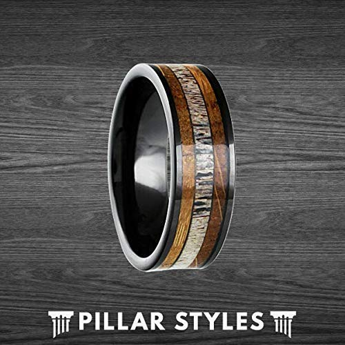 (Whiskey Barrel Ring with Deer Antler Inlay - Tungsten Wedding Band Mens Ring - 8mm Bourbon Barrel Wooden)