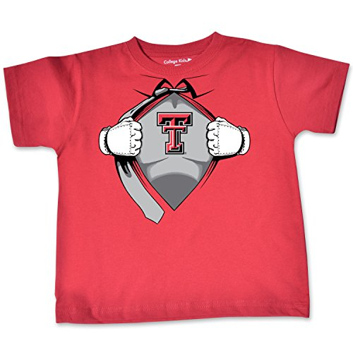 NCAA Texas Tech Red Raiders Toddler Short Sleeve Super Hero Tee, 4 Toddler, Red