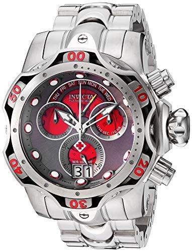 Invicta Men's Venom Quartz Watch with Stainless Steel Strap, Silver, 26 (Model: 26137) (Invicta Titanium)