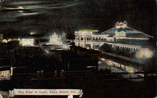 The Pike at night Long Beach, California Original Vintage - Pike Long At Beach