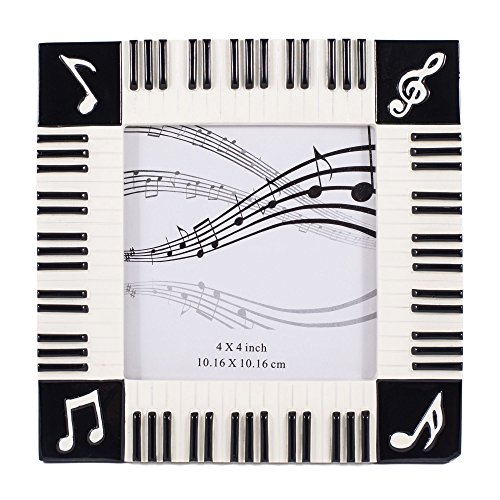 Piano Keyboard Musical Notes Treble Clef Decorative 4x4 Picture Frame by Broadway Gift