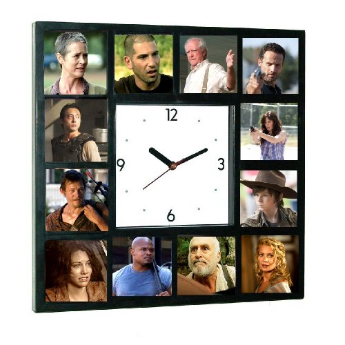 The Walking Dead Cast Zombie Killer TV Show Clock with 12 pictures