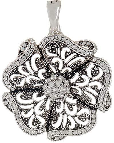 - Wearable Art by Roman Rhinestone Flower Pendant One Size Silver Tone