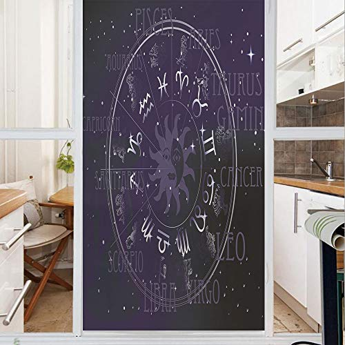 Decorative Window Film,No Glue Frosted Privacy Film,Stained Glass Door Film,Horoscope Zodiac Sign in Circle Wheel Shape on Star Seem Backdrop Print Decorative,for Home & Office,23.6In. by 59In Dark Bl
