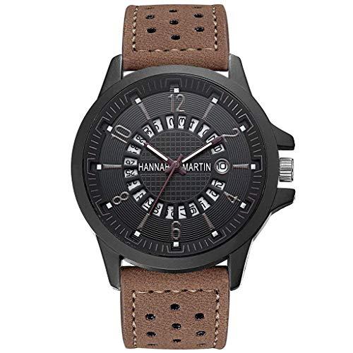 Odrongren Leather Casual Watch Digital Backlight Men Waterproof Wristwatch Fashion Classic Roulette Scale Calendar Leather Belt Men's Business LED Quartz Clock Multifunction Wrist Stopwatch ()